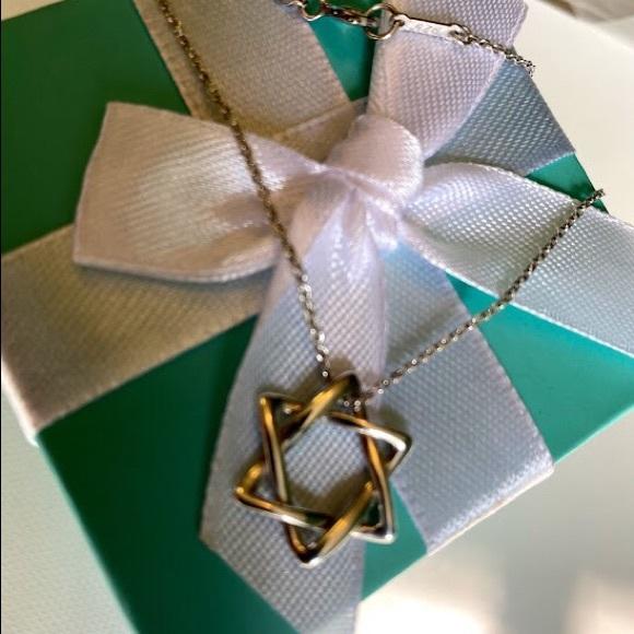 """Tiffany & Co  Star David Necklace 16"""""""